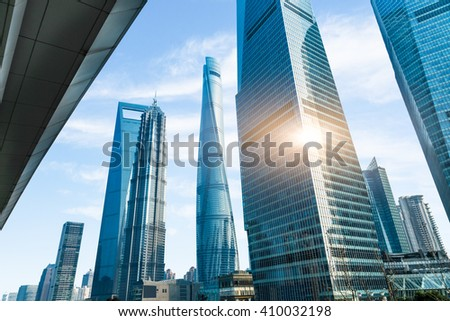 Shanghai Tower, world Financial Center and Jin Mao Tower,tallest buildings in shanghai - stock photo