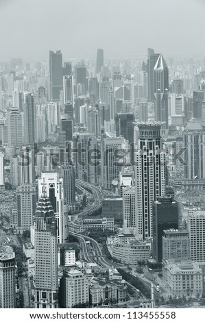 Shanghai urban city aerial view with skyscrapers in black and white - stock photo