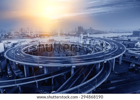 Shanghai viaduct - stock photo