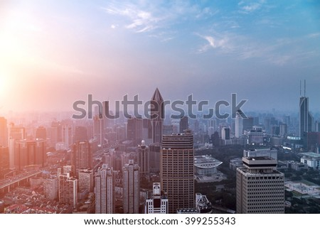 Shanghai Yanan road and cityscape at dusk