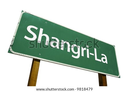 Shangri-La road sign isolated on a white background. - stock photo