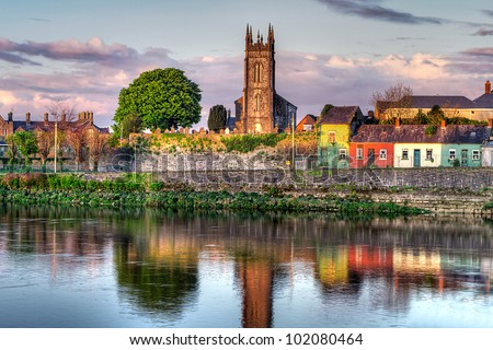 Shannon river scenery in Limerick city, Ireland - stock photo