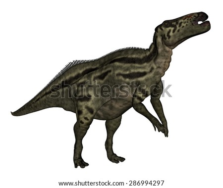 Shantungosaurus dinosaur standing isolated in white background - 3D render