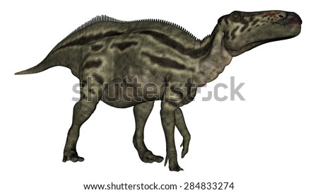 Shantungosaurus dinosaur vigilent isolated in white background - 3D render
