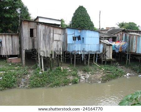 Shanty town in Manaus Amazonia, Brazil - A favela is a specifically portuguese word for a shanty town. The Wooden houses built on high stilts called palafitas  (Photo taken 01/30/2009)