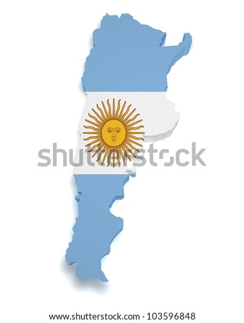 Shape 3d of Argentinian flag and map isolated on white background. - stock photo