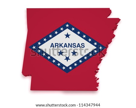Shape 3d of Arkansas map with flag isolated on white background.