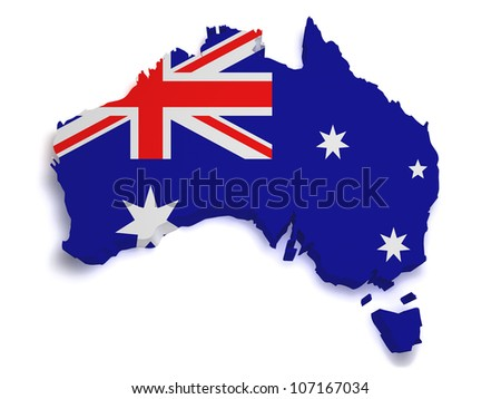 Shape 3d of Australian flag and map isolated on white background. - stock photo
