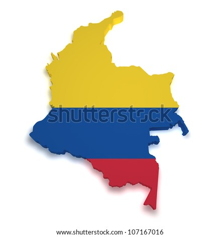 Shape 3d of Colombian flag and map isolated on white background.