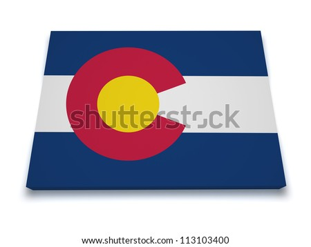 Shape 3d of Colorado map with flag isolated on white background.