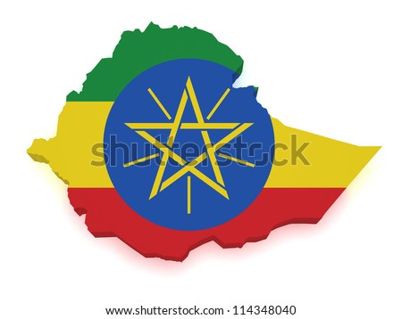 Shape 3d of Ethiopia map with flag isolated on white background. - stock photo