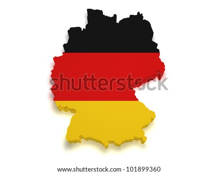 Shape 3d of German flag and map isolated on white background.