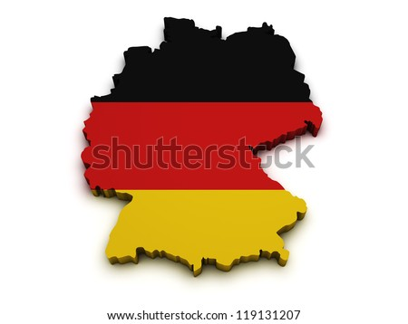 Shape 3d of Germany map with flag isolated on white background.