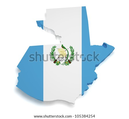 Shape 3d of Guatemalan flag and map isolated on white background. - stock photo