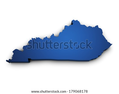 Shape 3d of Kentucky State map colored in blue and isolated on white background.