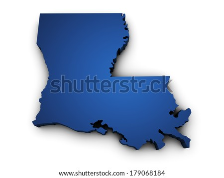 Shape 3d of Louisiana State map colored in blue and isolated on white background. - stock photo