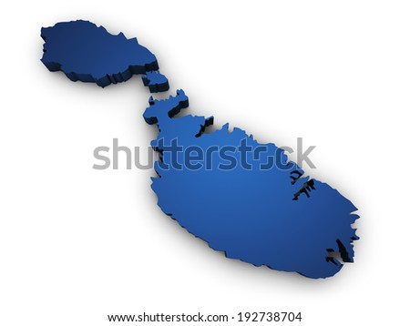 Shape 3d of Malta map colored in blue and isolated on white background. - stock photo