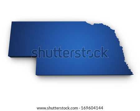 Shape 3d of Nebraska map colored in blue and isolated on white background. - stock photo