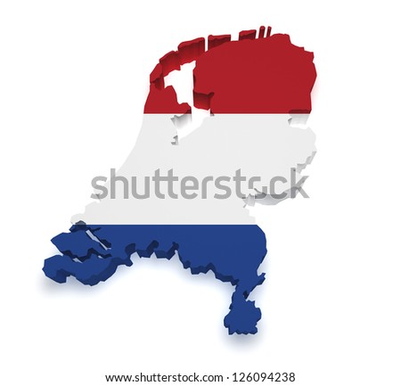 Shape 3d of Netherlands map with flag isolated on white background. - stock photo