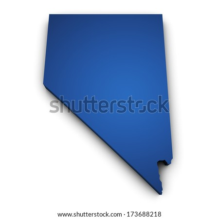 Shape 3d of Nevada map colored in blue and isolated on white background. - stock photo