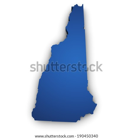 Shape 3d of New Hampshire State map colored in blue and isolated on white background. - stock photo
