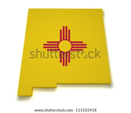Shape 3d of New Mexico map with flag isolated on white background. - stock photo