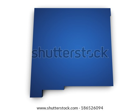 Shape 3d of New Mexico State map colored in blue and isolated on white background. - stock photo