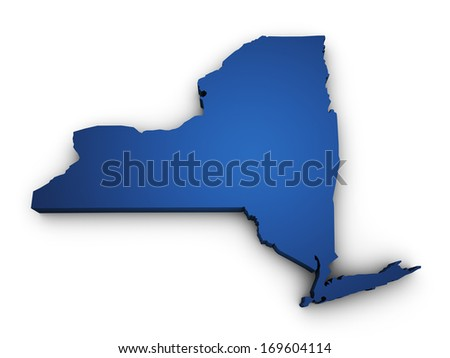 Shape 3d of New York State map colored in blue and isolated on white background. - stock photo