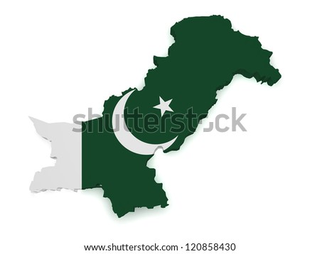 Shape 3d of Pakistan map with flag isolated on white background. - stock photo