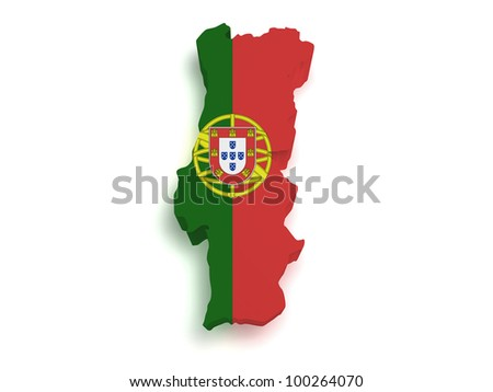 Shape 3d of Portuguese flag and map isolated on white background. - stock photo