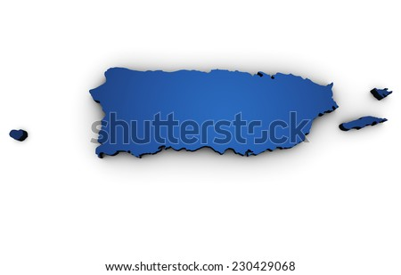 Shape 3d of Puerto Rico map colored in blue and isolated on white background. - stock photo
