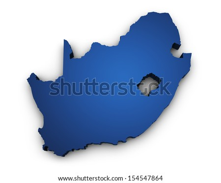 Shape 3d of South Africa map colored in blue and isolated on white background. - stock photo