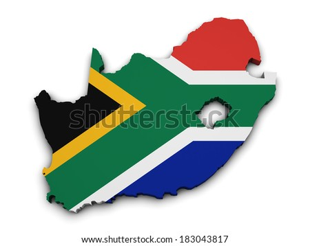 Shape 3d of South Africa map with flag isolated on white background.