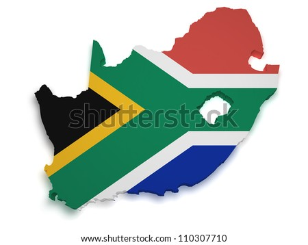 Shape 3d of South African flag and map isolated on white background.