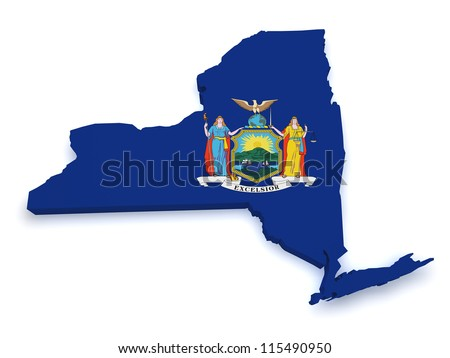 Shape 3d of State of New York map with flag isolated on white background. - stock photo