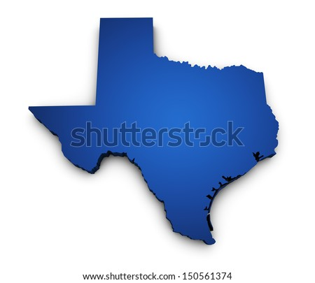 Shape 3d of Texas state map colored in blue and isolated on white background. - stock photo