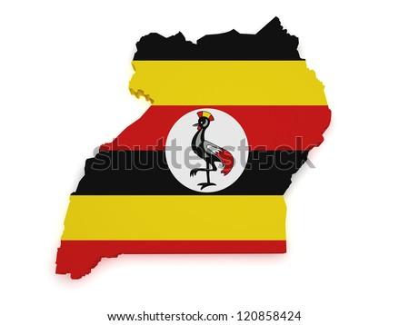 Shape 3d of Uganda map with flag isolated on white background. - stock photo