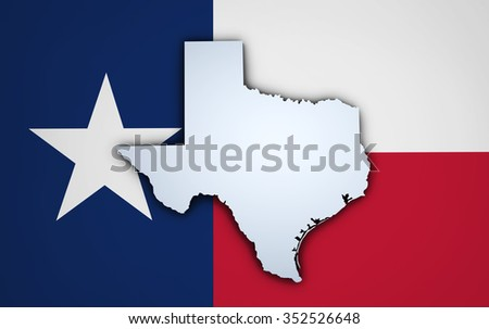 Shape 3d of US Texas state map and Texan flag on background.
