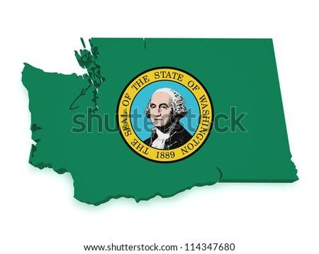 Shape 3d of Washington map with flag isolated on white background. - stock photo