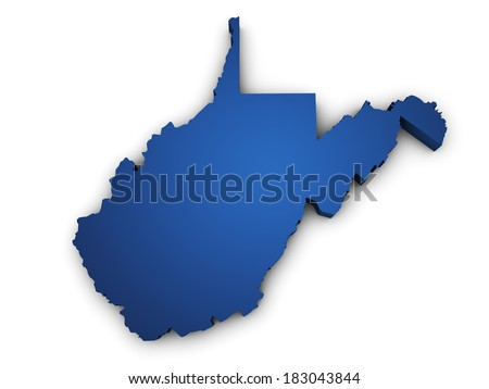 Shape 3d of West Virginia map colored in blue and isolated on white background. - stock photo