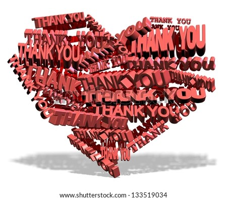 Shape of a heart made from words thank you / Thank you from heart - stock photo