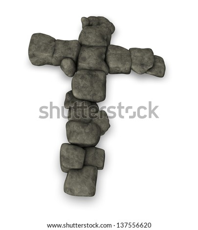 shape of christian cross made with stones - 3d illustration - stock photo