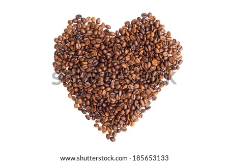 Shape of heart by roasted coffee beans