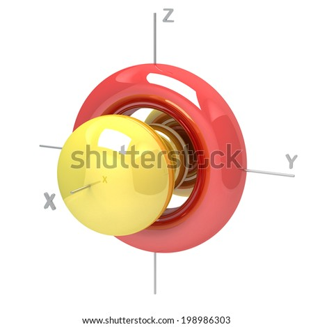 Shape of the 4D M-0 atomic orbital on white background. Available other orbitals