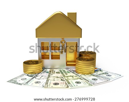 Shape of the house and golden coins on dollar bills isolated on white background