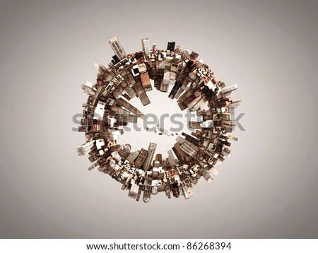 shaped city around a ring - stock photo