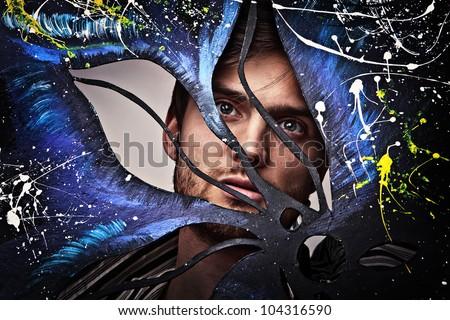 Shaped portrait of a beautiful man. - stock photo