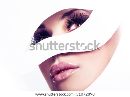 Shaped portrait of a perfect young beauty - stock photo