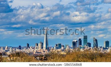 Shard and Gherkin building on a sunny London Skyline UK - stock photo
