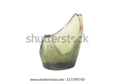 Shard of the old bottle of champagne wine isolated on white background - stock photo